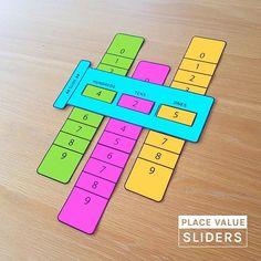 Place Value Sliders. math Place Value Sliders - Math Learning Aid Math Classroom, Kindergarten Math, Teaching Math, Classroom Ideas, Math Crafts, Math Projects, Math Place Value, Place Values, Math Games For Kids