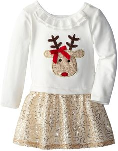 Amazon.com: Bonnie Jean Little Girls' Dress Reindeer Sequined Applique Skirt Set: Clothing