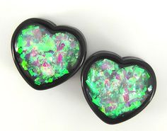 Diamond Iridescent Black Heart plugs embedded resin filled - Made to Order 1/2,9/16,5/8,11/16,3/4,7/8,1""