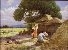 """Philippines = MORE ART Featured: Fernando Amorsolo's """"Winnowing Rice"""" His paintings not only depict an authentic Filipino rustic scenes, but carry with it an atmosphere and emotion that's just so romantic. Value Painting, Painting Art, Filipino Art, Philippine Art, Jungle Art, Philippines Culture, Tropical Landscaping, Artists Like, Female Art"""