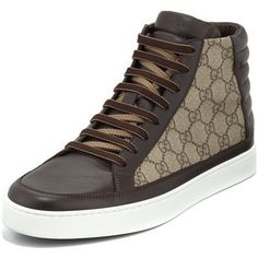 Gucci GG Supreme Canvas High-Top Sneaker ($545) ❤ liked on Polyvore featuring men's fashion, men's shoes, men's sneakers, brown, mens canvas shoes, gucci mens shoes, mens high top sneakers, mens brown shoes and gucci mens sneakers