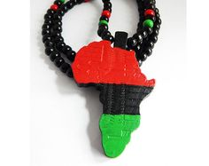 RBG Mens African Necklace RBG Mask Pendant by TheBlackerTheBerry