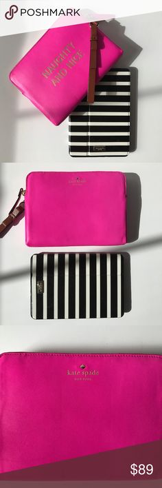 "KS Naughty & Nice Mini IPad Sleeve Pop of Pink 💝 oh so cute mini iPad sleeve. Bow detail on wristlet, black & white canvas striped interior, leather exterior. Fits a mini iPad with case. Lightly padded. Versatile to carry as a small clutch. 8.5""x6.25x1"". NWT. (Mini iPad not included) 😊 kate spade Accessories Tablet Cases"