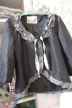 Silk Jacket Black Dupioni Womens Clothing LayersVictorian SALEVintage Shabby Chic Altered Clothing Small Medium Bohemian Tattered Silk Edges. $49.50, via Etsy.