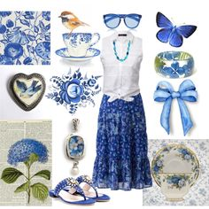 """""""Crisp & Cool Blue & White"""" by bschultea on Polyvore"""