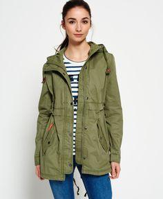 Superdry Classic Rookie Fishtail Parka Jacket Green Parkas Femme 835f1d96b207