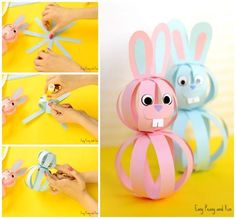 Easy Paper Bunny Craft - Easter Idea for Kids - Easter Crafts Easy Easter Crafts, Paper Crafts For Kids, Crafts For Kids To Make, Paper Crafting, Craft Kids, Rabbit Crafts, Bunny Crafts, Paper Bunny, Easter Activities