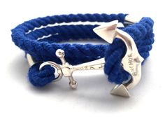 JaneGreer bracelet - unisex, made of silver 925. Dark blue colour, decorated with the anchor. Marine style.