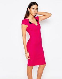 Vesper+Mabel+V+Neck+Pencil+Dress