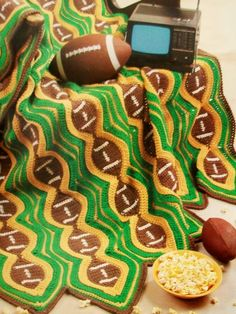 In orange and blue for Bears! Football Afghan Lapghan Throw Stadium Blanket, warm at the game, Crochet Pattern