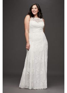 This charming, floral lace plus-size sheath wedding gown has an illusion sweetheart neckline and an open back, framed by delicate crochet lace trim. Pair it with a sash for added flair. By Gali Wedding Dress Styles, Dream Wedding Dresses, Bridal Dresses, Bridal Gown, Bridal Lace, Davids Bridal Plus Size, Plus Size Wedding, Form Fitting Wedding Dress, Sheath Wedding Gown
