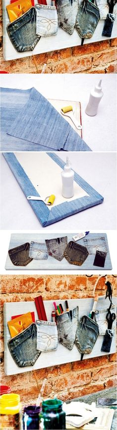 Denim is a sturdy fabric that can be used for various crafts. Consider recycling denim jeans into some useful things at home such as these cute cushions, a Diy Jeans, Recycle Jeans, Jean Crafts, Denim Crafts, Diy Projects To Try, Sewing Projects, Recycling, Cute Cushions, Denim Ideas
