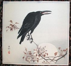 works on paper, Japan, A Japanese hanga by Ohara Koson to depicting a raven sitting on a flowering branch set against a full moon. Raven, Japanese Art, Woodblocks, Culture Art, Art Google, Japanese Woodblock Printing, Ohara Koson, Ukiyoe, Woodcut
