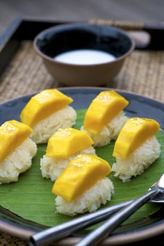 Mango with Sticky Rice Castaway Resort Koh Lipe South Andaman Coast Thailand - stock photo