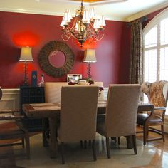 1000 images about red brown tan on pinterest red walls for Very small dining room ideas