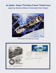"""Apollo-Soyuz Test Project Deke Slayton-Signed Launch Date / First Day Cover. A FDC with Artcraft cachet bearing the 10¢ """"Apollo Soyuz 1975"""" stamp, cancelled at the Kennedy Space Center on the launch date of July 15, 1975. Signed on the front in black ink by the U.S. mission commander: """"D K Slayton"""" and archivally corner-mounted to an attractive full-color information sheet. Very fine."""
