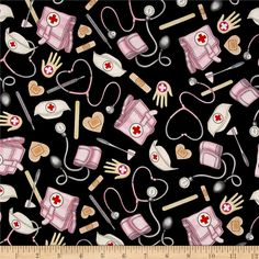 What The Doctor Ordered Nursing Toss Black from @fabricdotcom  From Dan Morris Designs for Quilting Treasures, this cotton print collection features medical field related prints, from EMT's, to paramedics, nurses, and doctors. Perfect for a heartfelt and hand-sewn gift for the doctor or nurse in your life. Use for quilting, apparel, and home decor accents. Colors include black, pink, grey, beige, and tan.