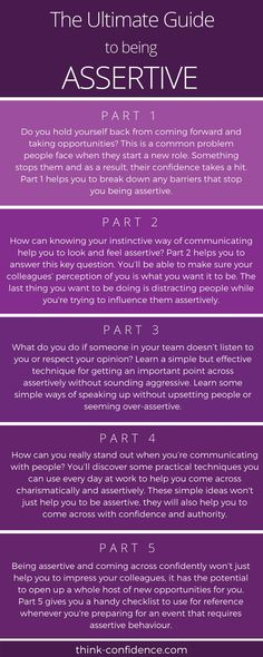 Click infographic - Comprehensive Guide to being ASSERTIVE. Learn how to get your point across without distracting people or seeming aggressive. Assertive Communication, Communication Skills, Social Work, Social Skills, Self Development, Personal Development, Assertiveness, Happiness, Self Awareness