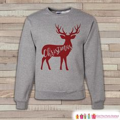 Reindeer Christmas Sweater - Adult Christmas Crewneck - Grey Holiday Sweater - Family Christmas Outfit - Deer Sweatshirt - Holiday Gift Idea