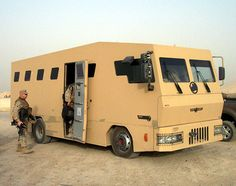 Rhino Runner armored bus used extensively in Iraq, especially on the infamous Route Irish between Baghdad International Airport and the Green Zone, Baghdad, Iraq Zombie Vehicle, Bug Out Vehicle, Skier, Armored Truck, Military Equipment, Car Wheels, Armored Vehicles, War Machine, Camping Gear