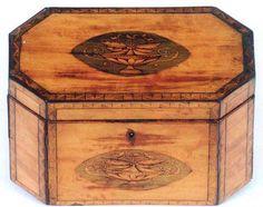 18th C. English Regency Inlaid Octagonal Tea Caddy Circa 1785
