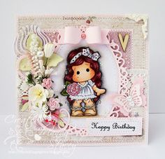 OOAK Magnolia Handmade Birthday Card - Bohemian Peony Tilda