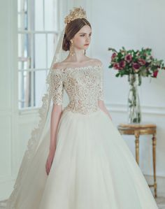 """""""Clara Wedding Bridal Collection Even the simplest wedding dress has its unique embellishments to make it shine. Other than picking the right silhouette that flatters a bride's body shape, often times. Stunning Wedding Dresses, Rustic Wedding Dresses, Modest Wedding Dresses, Lace Weddings, Bridal Dresses, Wedding Gowns, Tulle Wedding, Trendy Wedding, Gift Wedding"""