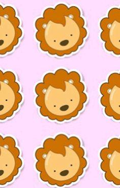 Cute lion head pattern,modern,trendy,pink background, brown,white,beige,kid,kids,children,pattern