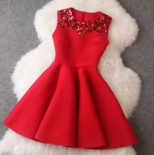 Vestidos 2016 vestido de dresses rahat ince uzay pamuk payet ince kırmızı elbise kadın elbise vestidos femininos(China (Mainland))