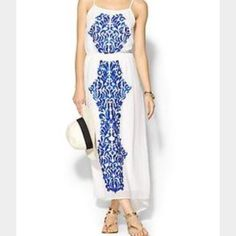 Sabine Blue And White Maxi Dress