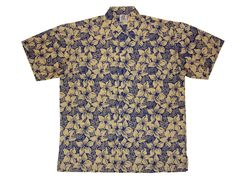 Frangipanni Blue - 100% cotton button up Hawaiian style shirts represented by Human Arts Gallery in Ojai, CA.