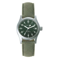 Hamilton - In Stock! - Mens Hamilton Khaki mechanical watch in stainless steel and fabric, set around a dark green dial with white numeral hour markers and a date function. Rugged Watches, Stylish Watches, Hamilton Khaki Navy, Field Watches, Timex Watches, Wrist Watches, Best Watches For Men, Awesome Watches, Mechanical Watch