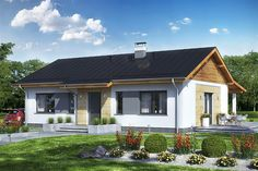 Projekt domu Terrier 2 bez garażu 93,3 m2 - koszt budowy - EXTRADOM House Wiring, Wooden Pallet Furniture, Entry Way Design, Bungalow House Plans, Small House Design, Farm Gardens, Pool Houses, Home Fashion, Pergola