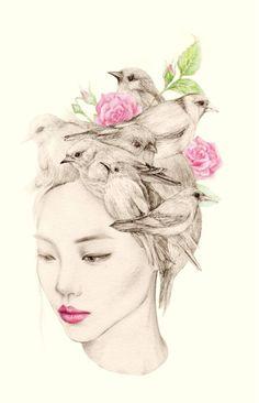 OkArt aka Okjungok (Korean, Seoul, Korea, Republic of) - 1-5:  From The Girl And The Birds series, 2014  6: The Spring Girl, 2014  Drawings