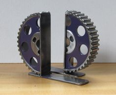 Pair of Purple Gearhalf Bookends by TabDesign on Etsy, $110.00