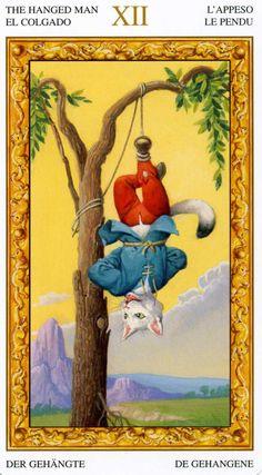 XII - Le pendu - Tarot chats blancs par Severino Baraldi