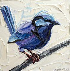 Fetching Fairy Wren, Jodie Wells, Oil on Canvas, 30x30cm, $990