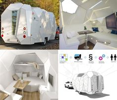 If It's Hip, It's Here: Mehrzeller - Trailer You Can Tailor! Modern Cellular Caravan Design With Configurator Camper Boat, Camper Caravan, Camping Trailer For Sale, Camping Trailers, Travel Trailers, Xavier Veilhan, Build A Camper Van, Camping In Texas, Camping Gear