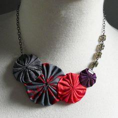 fabric yo yo/bead jewelry by cookoorikoo
