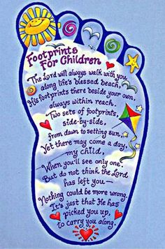 FOOTPRINTS FOR CHILDREN, I'm gonna have to draw this up to put in the boys room and frame