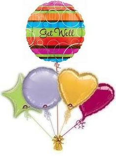 """Send Get Well Balloons. Why not send a beautiful """"Colourful Get Well Balloon"""", to cheer them up. Free balloon delivery on all balloons. Send get well balloons in a box by post!"""