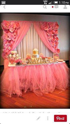 pink baby shower set up