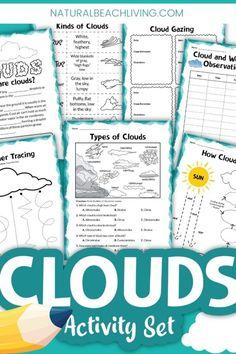 Clouds Activities for Kindergarten - Natural Beach Living Water Cycle Activities, Weather Activities For Kids, Preschool Lesson Plans, Kindergarten Lessons, Preschool Classroom, Kinds Of Clouds, Weather Lessons, Reading Comprehension Skills, Meteorology