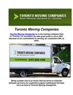 Toronto Moving Companies : Get A Moving Quote  Toronto Moving Companies is a moving company where in they provide you the best and excellent services in town. From moving storage, Toronto Movers are no pushers when it comes to moving you from one destination from the other without a sweat.Toronto Movers is the most experienced and trusted toronto moving company in Canada.  Website:- http://www.torontomovingcompanies.net/  GPL…