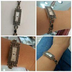 Купить Серебряные часы с марказитами и ониксом в интернет магазине на Ярмарке Мастеров