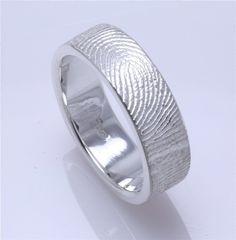 Mens band with wifes fingerprint. Love it! cool-stuff