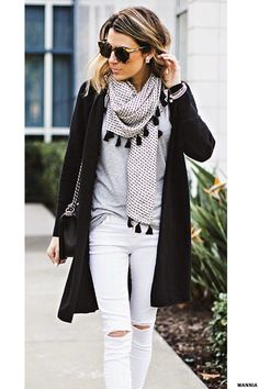 White distressed jeans, grey h&m top, black 3/4 length sleeve cardigan. Scarf.