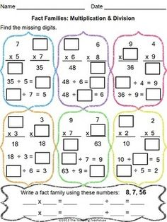 This Worksheet Packet Focuses On Multiplication And Division Facts And How They Are Related. The Packet Includes Fact Family And Mixed Practice Worksheets. Included Are Answer Keys And Color And Black and White Versions. Adjusted To Common Core Standards. Fact Family Worksheet, Multiplication And Division, Multiplication Facts, Division Activities, Fact Families, Math Tutor, E Mc2, Fun Math, Maths