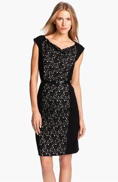 Classiques Entier® Belted Lace & Ponte Dress | Nordstrom
