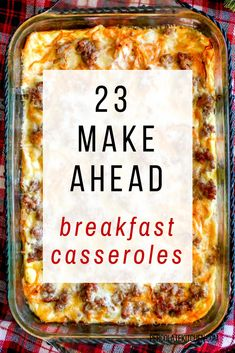 23 Make Ahead Breakfast Casseroles - start the day with a tasty and easy to make dish that the whole family will love. Grab these 23 ideas for breakfast casserole recipes! Recipes 23 Make Ahead Breakfast Casseroles - Overnight Breakfast Casserole, Gluten Free Breakfast Casserole, Overnight Egg Bake, Easy Egg Casserole, Healthy Breakfast Casserole, Brunch Casserole, Pioneer Woman Breakfast Casserole, Casserole Dishes, Easy Egg Bake